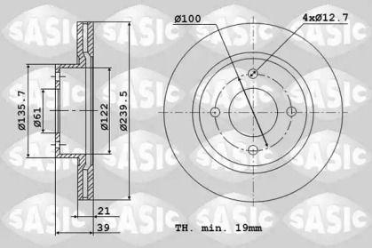 Вентилируемый передний тормозной диск 'SASIC 6106098'.