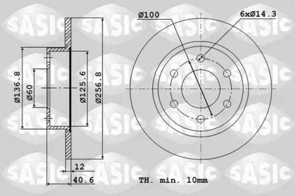 Передний тормозной диск 'SASIC 6106340'.