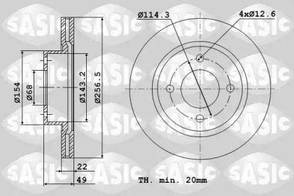 Вентилируемый передний тормозной диск 'SASIC 9004569J'.