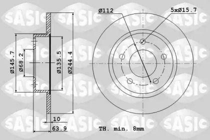 Задний тормозной диск 'SASIC 9004588J'.