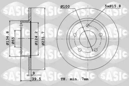 Задний тормозной диск 'SASIC 9004589J'.
