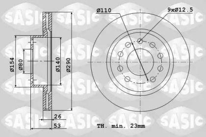 Вентилируемый передний тормозной диск 'SASIC 9004829J'.