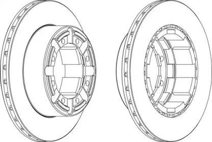 Вентилируемый задний тормозной диск 'BERAL BCR184A'.