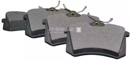 Задние тормозные колодки на SEAT ALTEA 'JP GROUP 1163706310'.