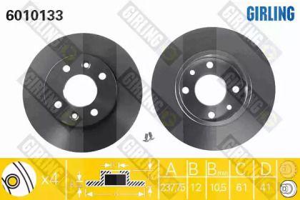 Тормозной диск на RENAULT 5 'GIRLING 6010133'.