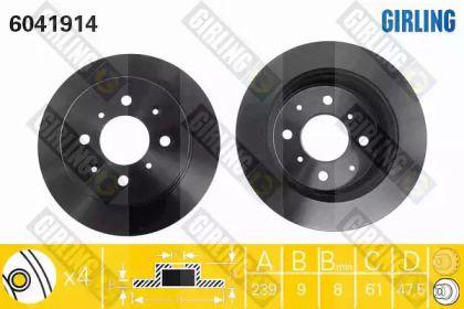 Тормозной диск на ACURA INTEGRA 'GIRLING 6041914'.