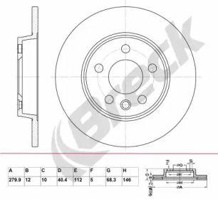 Тормозной диск на Фольксваген Траспортер 'BRECK BR 016 SA100'.