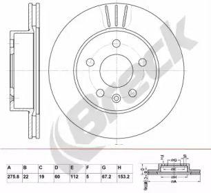 Вентилируемый тормозной диск 'BRECK BR 358 VA100'.