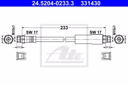 Тормозной шланг на SEAT ALTEA 'ATE 24.5204-0233.3'.
