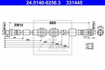 Гальмівний шланг на Mercedes-Benz GLE  ATE 24.5140-0256.3.