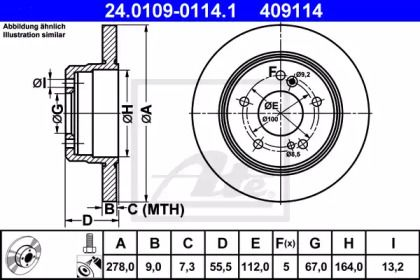 Тормозной диск 'ATE 24.0109-0114.1'.