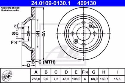Тормозной диск на Сааб 9000 'ATE 24.0109-0130.1'.