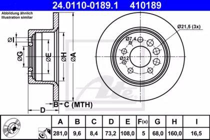Тормозной диск на VOLVO 240 'ATE 24.0110-0189.1'.
