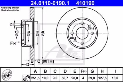Тормозной диск на LANCIA THEMA 'ATE 24.0110-0190.1'.