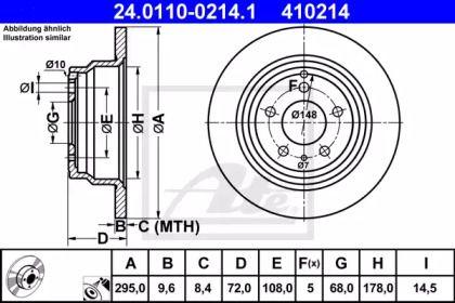 Тормозной диск на VOLVO S70 'ATE 24.0110-0214.1'.