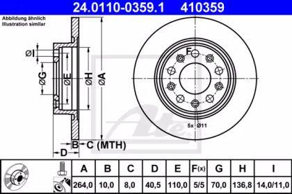 Тормозной диск на ALFA ROMEO GIULIETTA 'ATE 24.0110-0359.1'.