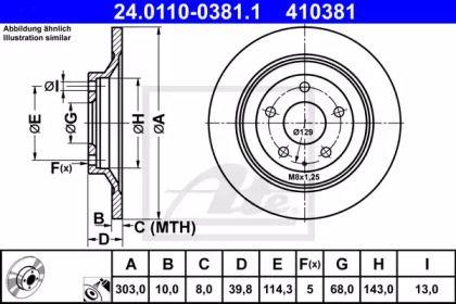 Гальмівний диск на MAZDA CX-5 ATE 24.0110-0381.1.