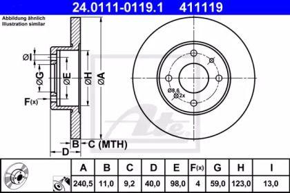 Тормозной диск на Фиат Синкьюсенто 'ATE 24.0111-0119.1'.
