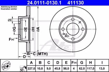 Тормозной диск на Фиат Регата 'ATE 24.0111-0130.1'.