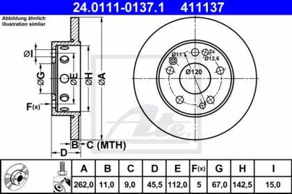 Тормозной диск 'ATE 24.0111-0137.1'.