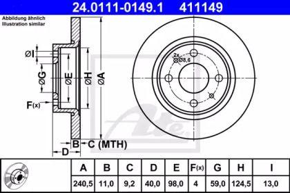 Тормозной диск на Альфа Ромео 33 'ATE 24.0111-0149.1'.