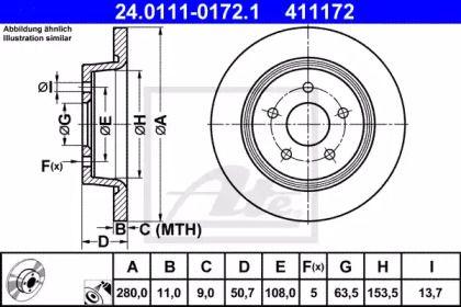 Тормозной диск на Форд Гранд С-макс 'ATE 24.0111-0172.1'.