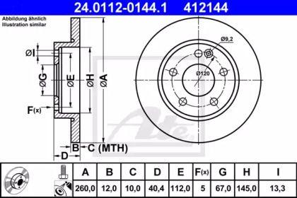 Тормозной диск 'ATE 24.0112-0144.1'.
