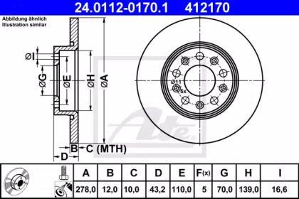 Тормозной диск на ALFA ROMEO BRERA 'ATE 24.0112-0170.1'.