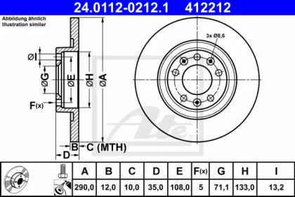 Тормозной диск на Ситроен Спейс Турер 'ATE 24.0112-0212.1'.