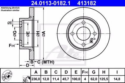 Тормозной диск на Шкода Фелиция 'ATE 24.0113-0182.1'.