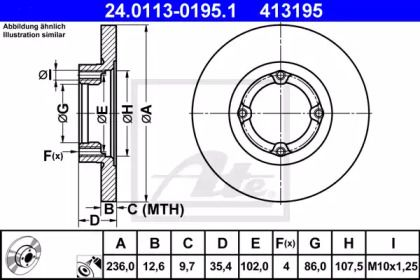 Тормозной диск на DAEWOO MATIZ 'ATE 24.0113-0195.1'.