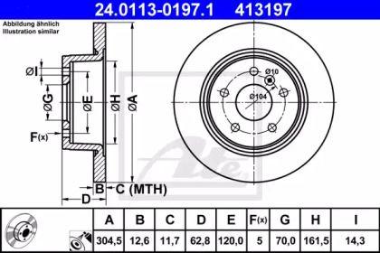 Тормозной диск на RANGE ROVER 'ATE 24.0113-0197.1'.