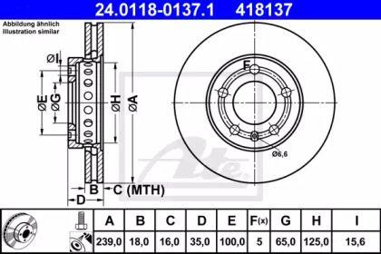 Вентилируемый тормозной диск 'ATE 24.0118-0137.1'.