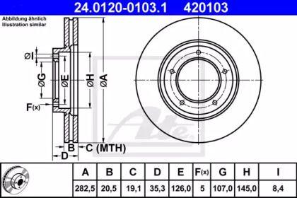 Вентилируемый тормозной диск на PORSCHE 924 'ATE 24.0120-0103.1'.