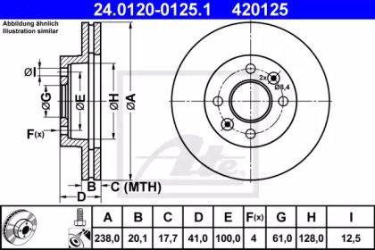 Вентилируемый тормозной диск 'ATE 24.0120-0125.1'.