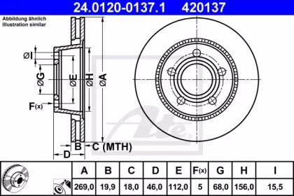 Вентилируемый тормозной диск на Ауди 200 'ATE 24.0120-0137.1'.