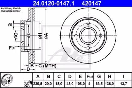 Вентилируемый тормозной диск 'ATE 24.0120-0147.1'.