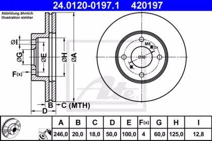 Вентилируемый тормозной диск на SUZUKI LIANA 'ATE 24.0120-0197.1'.