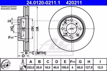 Вентилируемый тормозной диск на SUZUKI SPLASH 'ATE 24.0120-0211.1'.
