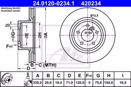 Вентилируемый тормозной диск на BMW X4 ATE 24.0120-0234.1.