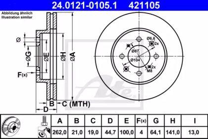 Вентилируемый тормозной диск на ROVER COUPE 'ATE 24.0121-0105.1'.