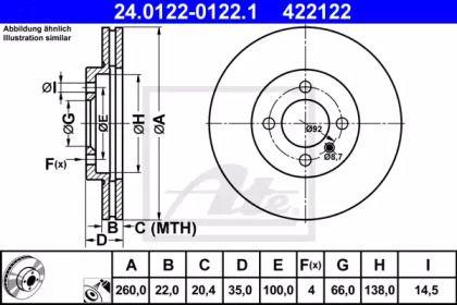 Вентилируемый тормозной диск на БМВ З1 'ATE 24.0122-0122.1'.