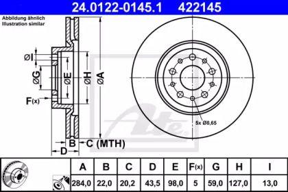 Вентилируемый тормозной диск на ALFA ROMEO 147 'ATE 24.0122-0145.1'.
