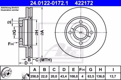 Вентилируемый тормозной диск на Форд Фьюжн 'ATE 24.0122-0172.1'.