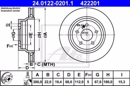 Вентилируемый тормозной диск на MERCEDES-BENZ GLK 'ATE 24.0122-0201.1'.