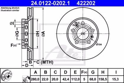 Вентилируемый тормозной диск 'ATE 24.0122-0202.1'.