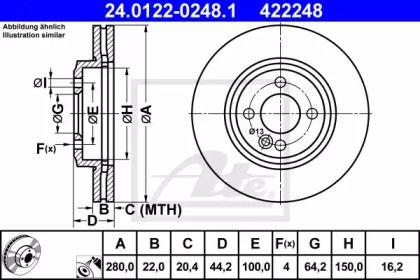 Вентилируемый тормозной диск на MINI CLUBVAN 'ATE 24.0122-0248.1'.