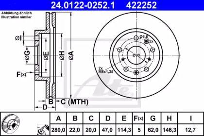 Вентилируемый тормозной диск на Фиат Седичи 'ATE 24.0122-0252.1'.