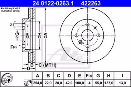 Вентилируемый тормозной диск на DAIHATSU MATERIA 'ATE 24.0122-0263.1'.