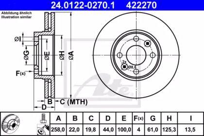 Вентилируемый тормозной диск на Рено Докер 'ATE 24.0122-0270.1'.